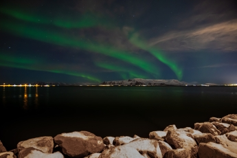 Aurore boréale depuis Reykjavik